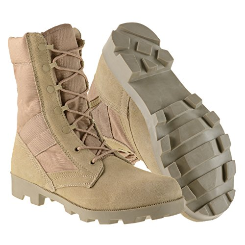 Ameritac-Mens-Side-Zip-Suede-Leather-Combat-Outdoor-Desert-Tan-Boots-9-Inch