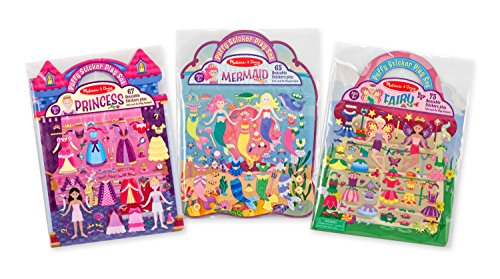 - Melissa & Doug Puffy Sticker Activity Books Set: Princess, Mermaid, Fairy - 180+ Reusable Stickers