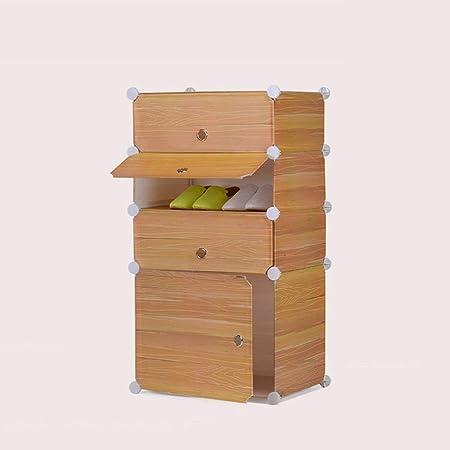 Caja de zapatos La caja de zapatos de imitación del grano de madera a prueba de polvo lavable del zapato plástico simple zapato de DIY Estante Combinación Gabinete de almacenamiento zapatero Adecuado:
