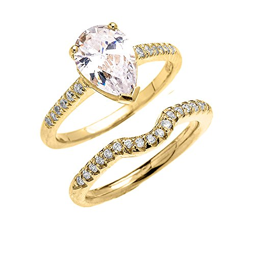 14k Yellow Gold Dainty Diamond Wedding Ring Set with Pear Shape Cubic Zirconia Center Stone(Size 5) (Pear Diamond Wedding Ring)