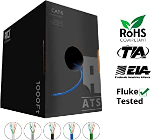 CAT6 Plenum (CMP) Cable, 1000FT | Fluke Test Passed | 23AWG 4Pair, Solid 550MHz Network Cable Unshielded Twisted Pair (UTP), Available in Blue, White, Green, Gray & Black (Blue)