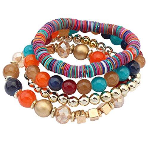 Molyveva 4 Pcs Wrap Bracelets Women - Bohemia Stretch Beads Bangle Chain - Stacked Wristbands Bracelets (Multicolor)