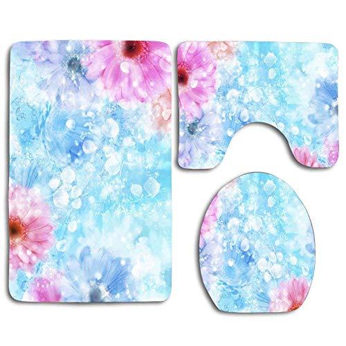 Ftenda Dan Amazing Pink Ice Flowers 3 Piece Bathroom Rug Set - Skid Proof Toilet Bath Rug Mat U Shape Contour Lid Cover for Shower Spa