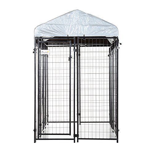 PawHut 97'' x 46'' Outdoor Galvanized Metal Dog Kennel Playpen with UV and Water Resistant Tarp Cover by PawHut (Image #3)