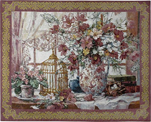 (Pure Country Weavers Queen Anne's Lace | Woven Tapestry Wall Art Hanging | Pink Gold Flower Centerpiece with Birdcage Victorian Style | 100% Cotton USA Size 53x40)