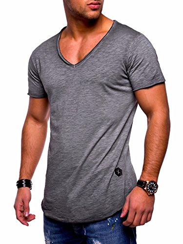 V-neck Muscle Tee (Behype Men's Basic T-Shirt Polo Muscle Tee Casual Tops MT-7102 (XL,Darkgrey))