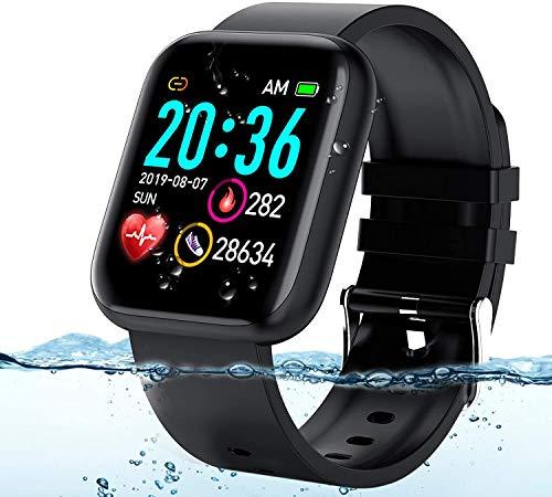 Langguth Smartwatch, fitnesshorloge, 1,3 inch touchscreen, fitnesstracker met hartslagmeter, ECG, waterdicht IP67…