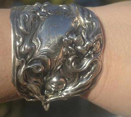 Antique Victorian Silver Bangle - Rare Antique Victorian,Art Nouveau Solid,Sterling Silver 925, Goddess Lady Face Cuff Bracelet Bangle .925,Spoon Ring,Wide