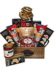 Gourmet Impressions - Gift Basket – Delectable Meats, Sweets and Savory Selection - 2 Types of Wine Salami (Chianti and Pinot Grigio), Rosemary Breadsticks, 3 Types of Crackers, Tomato Pesto, Mixed Nuts, Pure Butter Shortbread, Fruit Jellies and Bon Bons Cherry Candies.