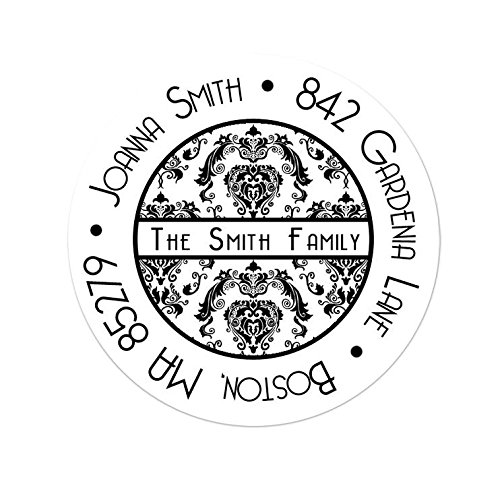- Personalized Customized Address Label Stickers - Damask - Choose Your Size