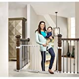 Easy Walk Through Regalo Top of Stairs Baby Gate, 26''-42'' ,Hardware Included for Multiple Banister Applications, Includes Options to Avoid Drilling into Banisters and Walls Too, White