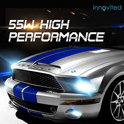Innovited 55W Performance Xenon HID LightsAll Bulb Sizes and Colors with Digital Ballast H11 H9 H8-30000K DeepBlue 2 Year Warranty