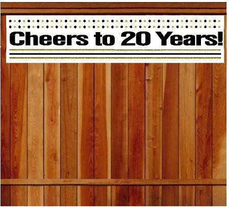 CakeSupplyShop Item#020CIB 20th Birthday / Anniversary Cheers Wall Decoration Indoor / OutDoor Party Banner (10 x 50inches) - 20th Birthday Decorations