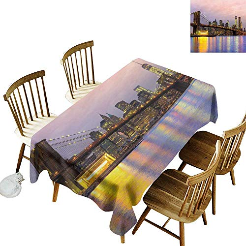 (W Machine Sky Restaurant Tablecloth Modern Sunrise Time at Manhattan Silhouette with Dramatic New York Scene USA W52 xL70 for Family Dinners,Parties,Everyday Use)