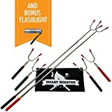 Smart Roaster SET of 6 Telescoping Marshmallow Roasting Sticks - BONUS Mini LED Flashlight - Campfires Made Fun