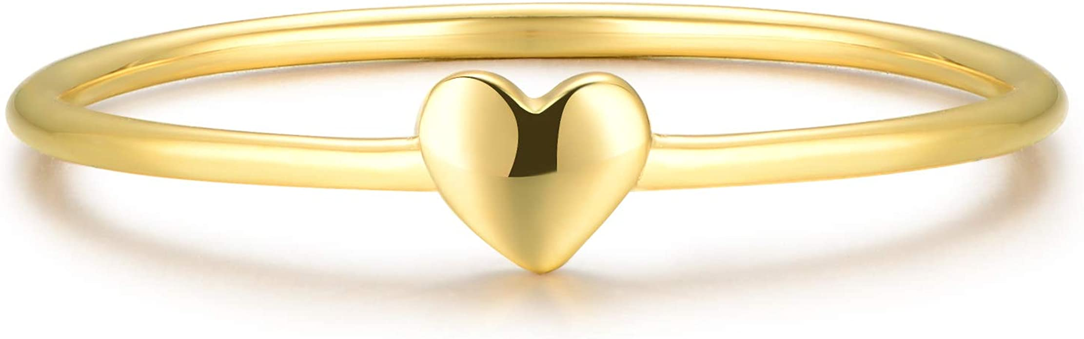 925 Sterling Silver//18K Yellow Gold Filled Two Tone Open Heart Love Band Ring