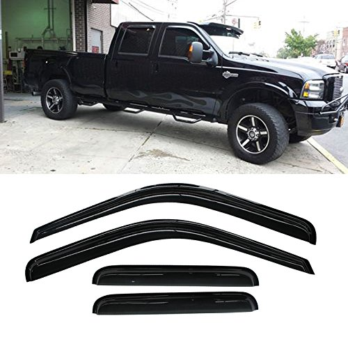 Alxiang 4pcs Front Rear Smoke Sun/Rain Guard Vent Shade Window Visors For 99-16 Ford F250/F350/F450 Super Duty Super Crew (Front Vent Visor)