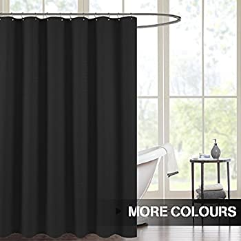waterproof shower curtains for bathroom black waffle weave fabric metal