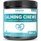 Calming Treats For Dogs - 100 Soft Chews for Stress & Anxiety Relief with Valerian Root - Separation & Composure Aid for Chewing & Barking Pets with Hyperactive & Aggressive Behavior - Calm Relaxant