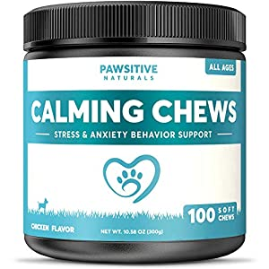 Calming Treats For Dogs – 100 Soft Chews for Stress & Anxiety Relief with Valerian Root – Separation & Composure Aid for Chewing & Barking Pets with Hyperactive & Aggressive Behavior – Calm Relaxant