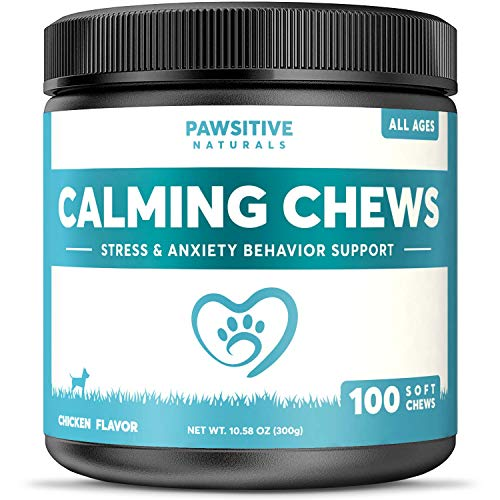 (Calming Treats For Dogs - 100 Soft Chews for Stress & Anxiety Relief with Valerian Root - Separation & Composure Aid for Chewing & Barking Pets with Hyperactive & Aggressive Behavior - Calm Relaxant )