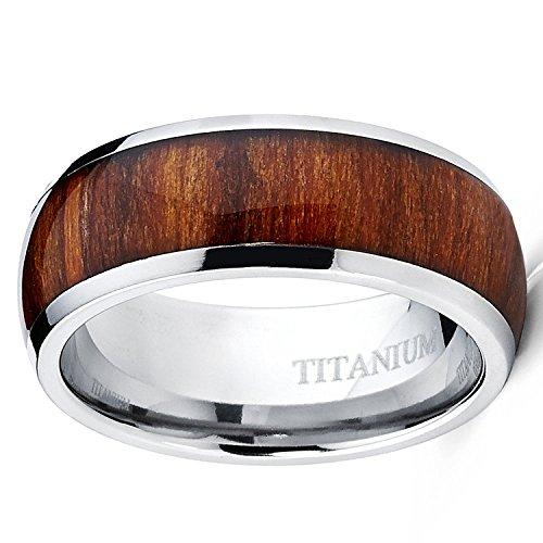 Koa Wood Titanium Men's Ring, Wedding Band, Engagement Ring Genuine Hawaiian Wood - Sizes 9-13 (12) by Artisan Owl (Image #2)