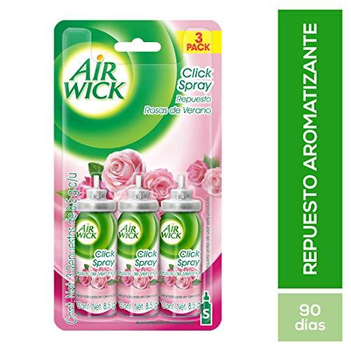 Air Wick Click Spray Rosas de Verano Repuesto, 8.5 g, 3 Piezas