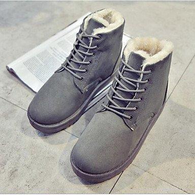 RTRY Zapatos De Mujer Cuero De Nubuck Pu Moda Otoño Invierno Botas Botas Botas De Combate Talón Plano Botines/Botines Informales Rubor Rosa Gris US6.5-7 / EU37 / UK4.5-5 / CN37