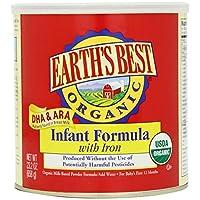 Earth's Best Organic Lechería en polvo para lactantes con hierro, Omega-3 DHA y Omega-6 ARA, 23.2 oz.