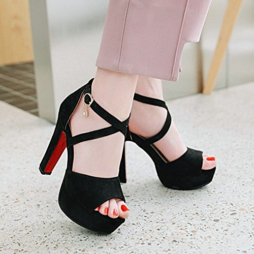TAOFFEN Women Fashion Cross Strap Sandals Platform Black lqj4p