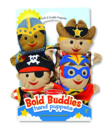 Melissa & Doug Bold Buddies Hand Puppets, Puppet Sets, Knight, Pirate, Sheriff, and Superhero, Soft Plush Material, Set of 4, 14