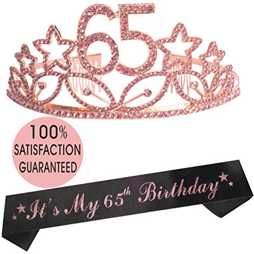 65th Birthday Tiara and Sash, Happy 65th Birthday Party Supplies, 65th Glitter Satin Sash and Crystal Tiara Birthday Crown for 65th Birthday Party Supplies and Decorations (Tiara+Sash) (Pink)