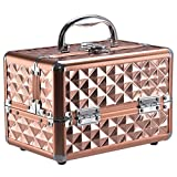 Giantex Portable Mini Makeup Train Case Professional Cosmetic Box with Mirror & Adjustable Dividers 2 Trays (Golden Rose)
