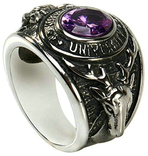 KnSam Classic Ring Stainless Steel Men Rings Engraved Vintage Round Purple Crystal Size 7