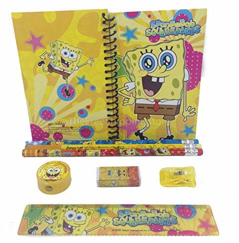 SpongeBob Squar Pants Stationary Set for Kids Yellow (Spongebob School Supplies)