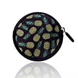 BRILA Coin purse cute pineapple design – Multipurpose waterproof round pouch case for Earphones USB Cables– zipper closure