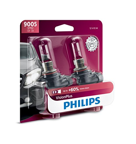 Philips 9005 VisionPlus Upgrade Headlight Bulb with up to 60% More Vision, 2 Count