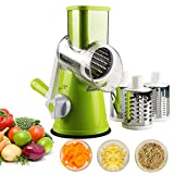 Zacfton Vegetable Mandoline Slicer, Vegetable Fruit Cutter Cheese Shredder Rotary Drum Grater with 3 Stainless Steel Rotary Blades and Suction Cup Feet (Green)
