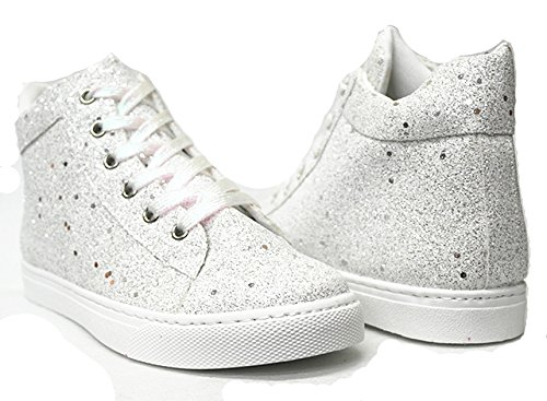 Sneaker 18 Glitter Women's White lightweight Up Shoes 27 Lace Forever New Sf Quilted Link Jogger Remy tBYW8Iq