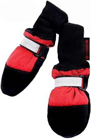 Amazon Com Muttluks Fleece Lined Muttluks Dog Boots Set Of 4 Xx Small 1 5 To 2 25 Inch Red Pet Boots Pet Supplies