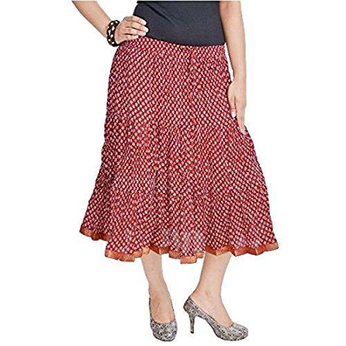 Rajasthani Red Red Cotton Women SMSKT543 Long Skirt OqH4OdB