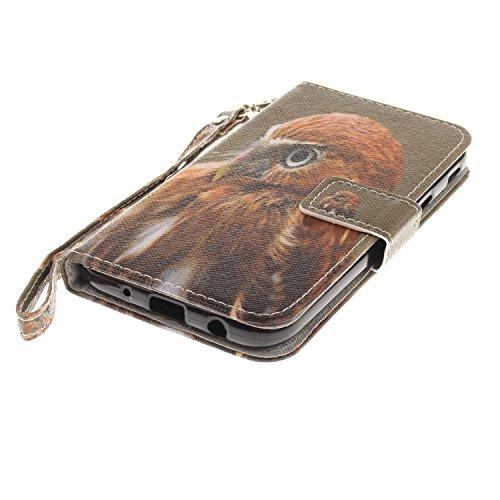 Funda Galaxy J5 2017(J530),SainCat Funda de cuero sintético tipo billetera con correa de cordón de Suave PU Carcasa Con Tapa y Cartera,Ranuras para Tarjetas y Billetera Funda de Flip Ranuras Tarjeta S Baby Hawk
