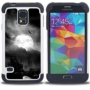 - night moon Dracula castle Halloween bat - - Doble capa caja de la armadura Defender FOR Samsung Galaxy S5 I9600 G9009 G9008V RetroCandy