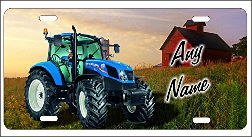 Blue Tractor New Holland Personalized Novelty Front License Plate Custom Farm Decorative Aluminum Car Tag -  ATD Design LLC, LPNEWHOLLAND2
