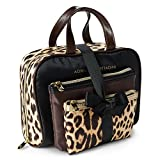 Adrienne Vittadini Cosmetic Bag Set: 3 Travel Makeup Toiletry Bags with Zippered Closure - Large Satchel & Medium & Small Square Cases - Real Leopard