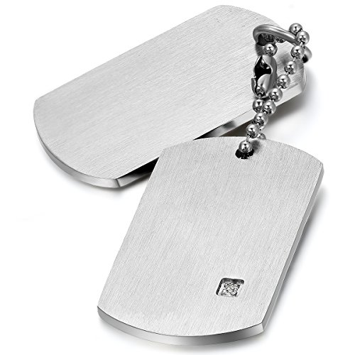 Oidea Stainles Steel Mens High Polished Double Dog Tag Pendant Necklace for Biker,with Gift Bag