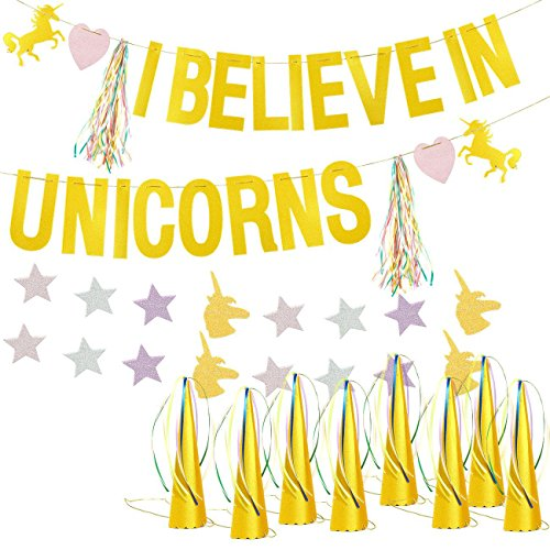 Blue Panda Unicorn Birthday Party Supplies Kit - I Believe in Unicorns Backdrop Hanging Centerpiece, 12 Party Hats, 6 Tassels, 1 Star Garland, for Celebration Decoration, Pink and Gold