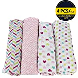 Sealive 4-in-1 Cotton Muslin Receiving Blankets Swaddle for Newborn Baby Infant,Breathable Ultra Soft Unisex Baby Blanket With 4 Patterns,47x47 inches,Perfect Baby Shower Gift(Girls)