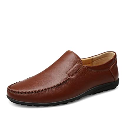 Sunny&Baby Mens Business Loafer Flat Heel Solid Color Comfort Soft British Style Genuine leather Slip on