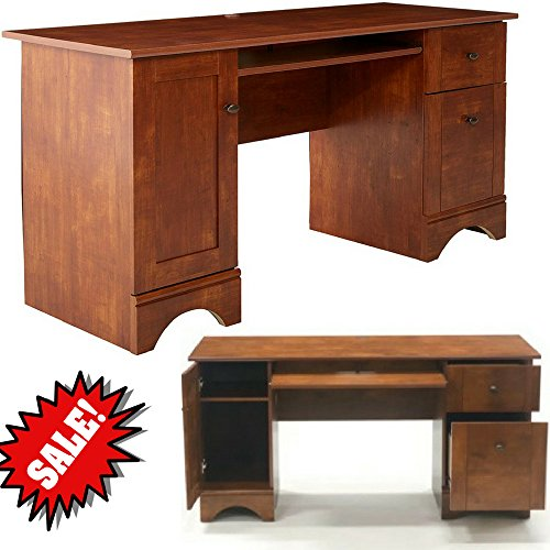 Wooden Computer Desk with Keyboard Tray Two Drawers and Tower Cabinet Maple Brown Classic Large 60